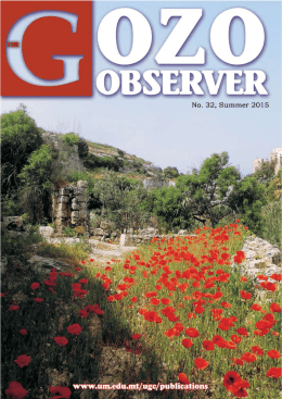 1 THE GOZO OBSERVER (No. 32)  -  Summer 2015