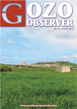 1 THE GOZO OBSERVER (No.31)  -  Winter 2014