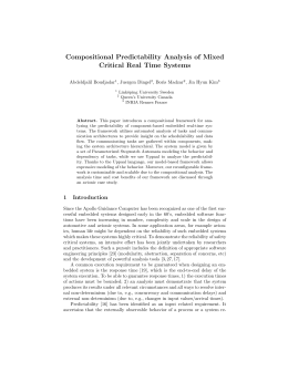 Compositional Predictability Analysis of Mixed Critical Real Time Systems Abdeldjalil Boudjadar