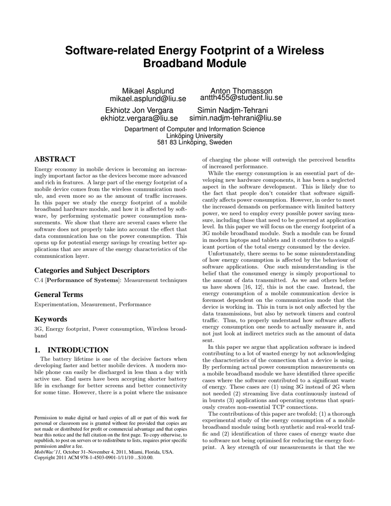 Software-related Energy Footprint of a Wireless Broadband Module