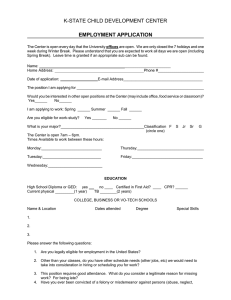 K-STATE CHILD DEVELOPMENT CENTER EMPLOYMENT APPLICATION