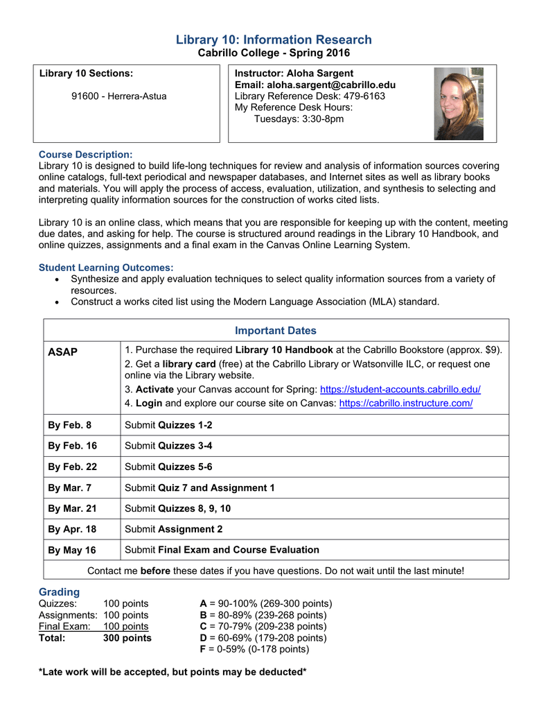 Library 10: Information Research Cabrillo College - Spring 2016