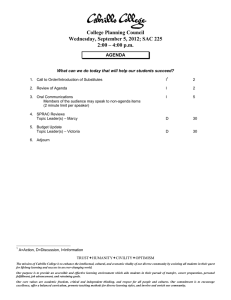 College Planning Council Wednesday, September 5, 2012; SAC 225 AGENDA