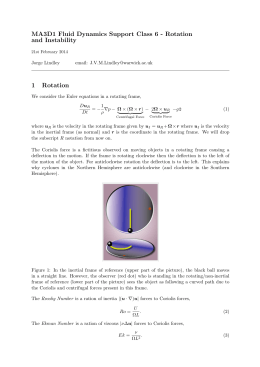 MA3D1 Fluid Dynamics Support Class 6 - Rotation and Instability 1 Rotation