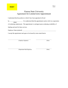 Kansas State University Agreement for Limited term Appointment