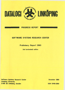 DATALOGI LINKÖPING PROGRESS  REPORT SOFTWARE  SYSTEMS  RESEARCH  CENTER