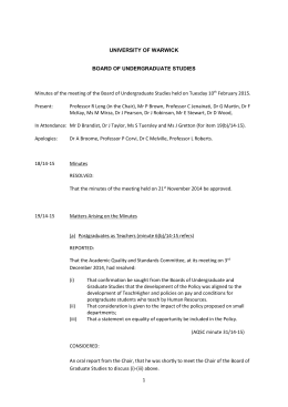 Minutes of the meeting of the Board of Undergraduate Studies... February 2015. Present: