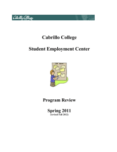 Cabrillo College Student Employment Center Program Review