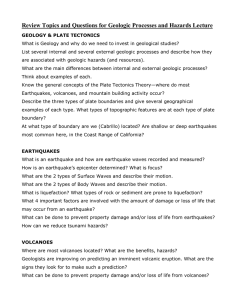 Review Topics and Questions for Geologic Processes and Hazards Lecture