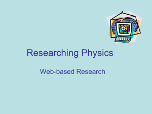 Researching Physics Web-based Research