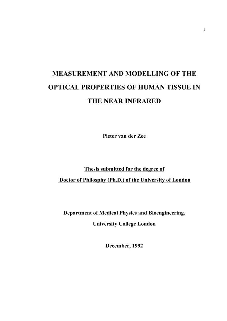 Measurement And Modelling Of The Optical Properties Of Human
