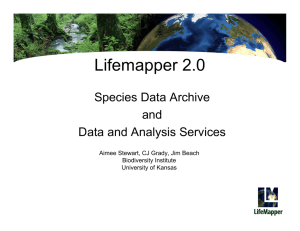 Lifemapper 2.0 Species Data Archive and Data and Analysis Services