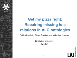 Get my pizza right: Repairing missing is-a relations in ALC ontologies