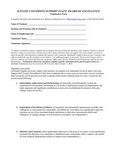 K-STATE UNIVERSITY SUPPORT STAFF AWARD OF EXCELLENCE  Nomination Form