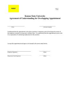 Kansas State University Agreement of Understanding for Overlapping Appointment _________________