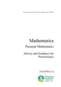 Mathematics Personal Mathematics  Advice and Guidance for