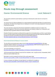 Route map through assessment  Course: Environmental Science Level: National 4