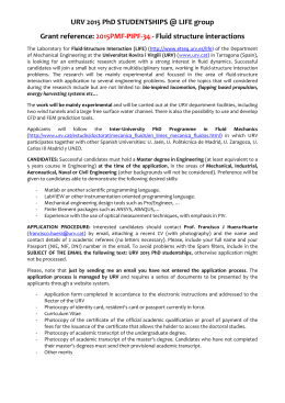 URV 2015 PhD STUDENTSHIPS @ LIFE group Grant reference: 2015PMF‐PIPF‐34