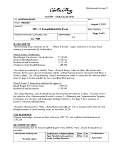 Replacement for page 73  2011-12  Budget Reduction Plans