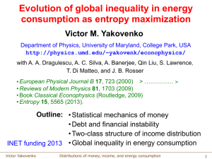 Evolution of global inequality in energy consumption as entropy maximization