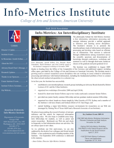 Info-Metrics Institute College of Arts and Sciences, American University Fall 2010 Newsletter