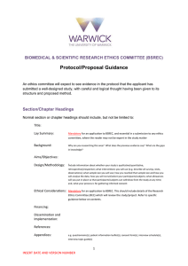 Protocol/Proposal Guidance  BIOMEDICAL & SCIENTIFIC RESEARCH ETHICS COMMITTEE (BSREC)