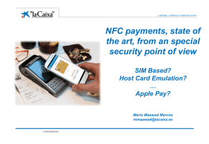 NFC payments, state of the art, from an special