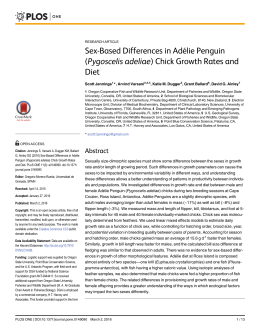Sex-Based Differences in Adélie Penguin (Pygoscelis adeliae) Chick Growth Rates and Diet