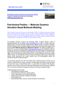 Post-doctoral Position — Molecular Dynamics Simulation Based Multiscale Modeling /www.ntnu.no/n