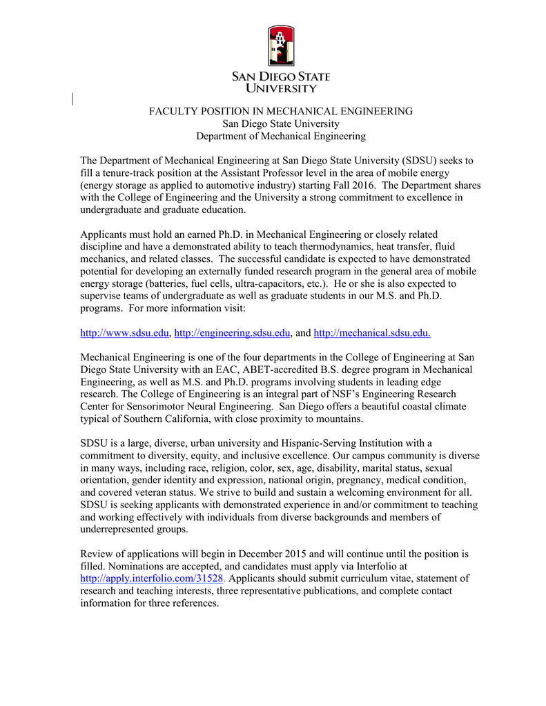 FACULTY POSITION IN MECHANICAL ENGINEERING San Diego State University