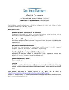 School of Engineering Ph.D. Admission Announcement: 2015-16 Department of Mechanical Engineering