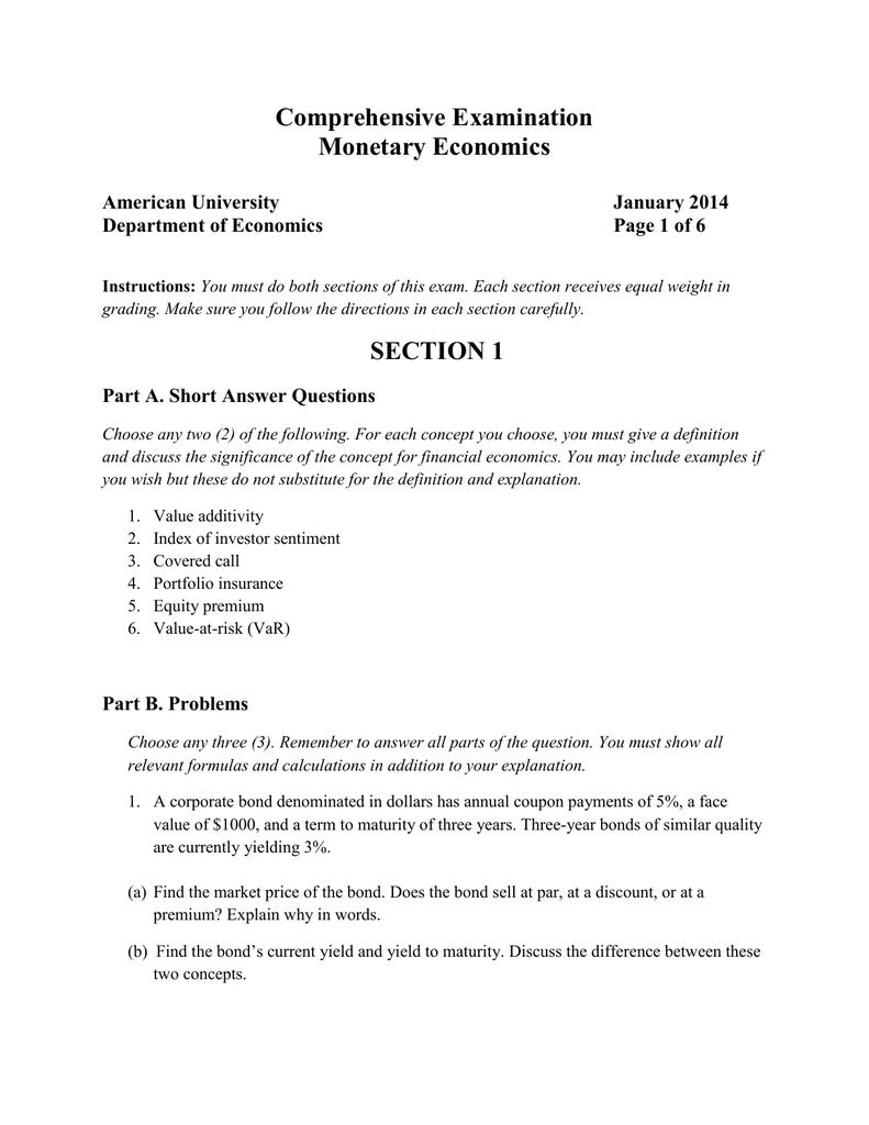 comprehensive examination monetary economics section 1