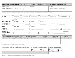 RECORD SERIES INVENTORY INSTRUCTIONS: USE ONE FORM PER RECORD SERIES PAPER DEPARTMENT