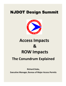 Access Impacts & ROW Impacts NJDOT Design Summit