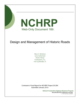 NCHRP Design and Management of Historic Roads Web-Only Document 189: Mary E. McCahon