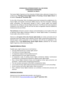 INTERNATIONAL INTERDISCIPLINARY CALL FOR PAPERS HUMAN RIGHTS PROGRAMME UNIVERSITY OF MALTA