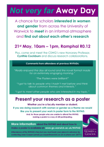 Not very far Away Day 21 May, 10am – 1pm, Ramphal R0.12