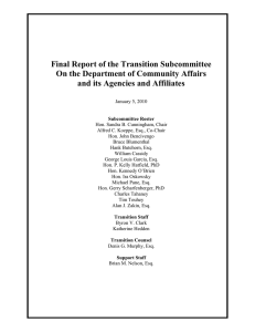 Final Report of the Transition Subcommittee and its Agencies and Affiliates