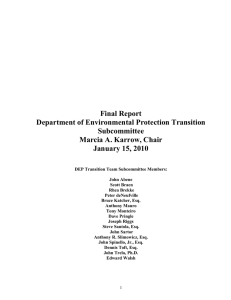 Final Report Department of Environmental Protection Transition Subcommittee Marcia A. Karrow, Chair