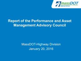 Report of the Performance and Asset Management Advisory Council MassDOT-Highway Division