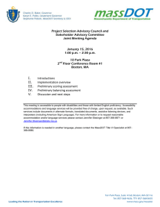 Project Selection Advisory Council and Stakeholder Advisory Committee Joint Meeting Agenda