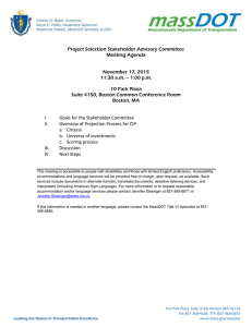 Project Selection Stakeholder Advisory Committee Meeting Agenda  November 17, 2015