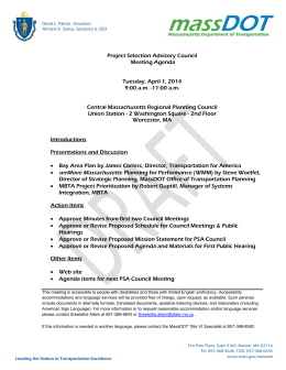 Project Selection Advisory Council Meeting Agenda  Tuesday, April 1, 2014