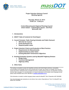 Project Selection Advisory Council Meeting Agenda  Thursday, March 13, 2014