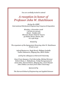 A reception in honor of Professor John W. Hutchinson