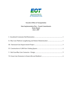 Executive Office of Transportation  State Implementation Plan – Transit Commitments  Status Report