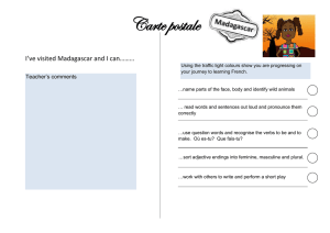 Carte postale I've visited Madagascar and I can……… Teacher's comments