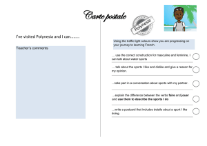 Carte postale I've visited Polynesia and I can……… Teacher's comments