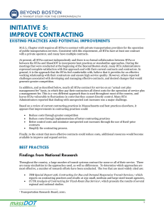 INITIATIVE 5: IMPROVE CONTRACTING EXISTING PRACTICES AND POTENTIAL IMPROVEMENTS