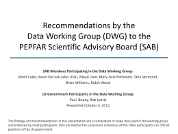 Recommendations by the Data Working Group (DWG) to the